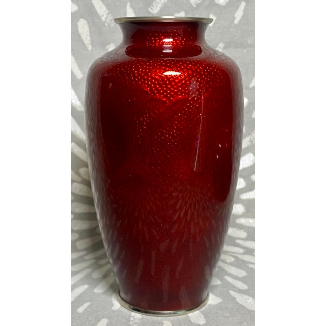 1960s Sato Pigeon Blood Cloisonné & Silver Bamboo Theme Ginbari Vase For Sale - Image 9 of 9
