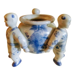 Blue and White, Gray Porcelain 3 Monk Chinoiserie Statue Planter Pot For Sale