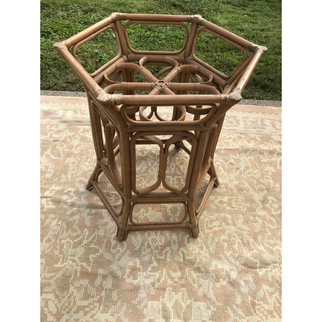 1970s Boho McGuire Style Bent Rattan Table + Octagon Shaped, Beveled Glass Top For Sale - Image 5 of 11