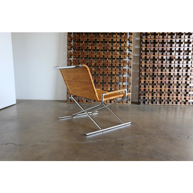 """Ward Bennett 1966 Vintage Cane & Chrome Plated Steel """" Sled """" Chair For Sale - Image 4 of 10"""