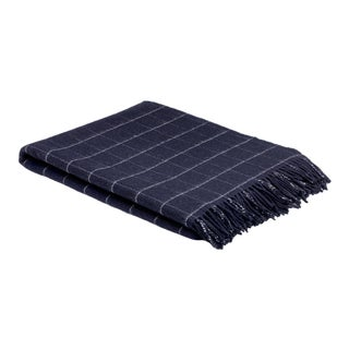 Classic Navy Windowpane Throw