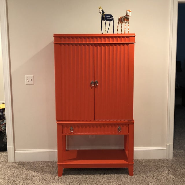 Art Deco Orange Painted Bar Cabinet For Sale - Image 11 of 13