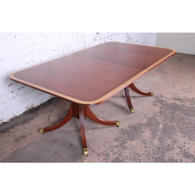 Kindel Furniture Kindel Furniture Georgian Style Banded Mahogany Double Pedestal Extension Dining Table For Sale - Image 4 of 12