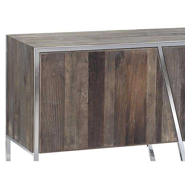 Modern grey finish hardwood sideboard with unique design chrome frame. Sleek and bold style. Each varies in exact finish,...