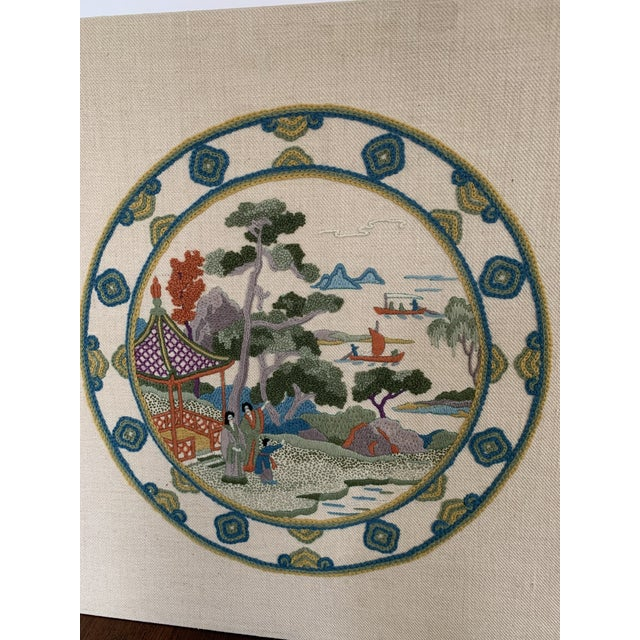 1970s Vintage Chinoiserie Crewl Needlepoint Art Works - a Pair For Sale - Image 5 of 12