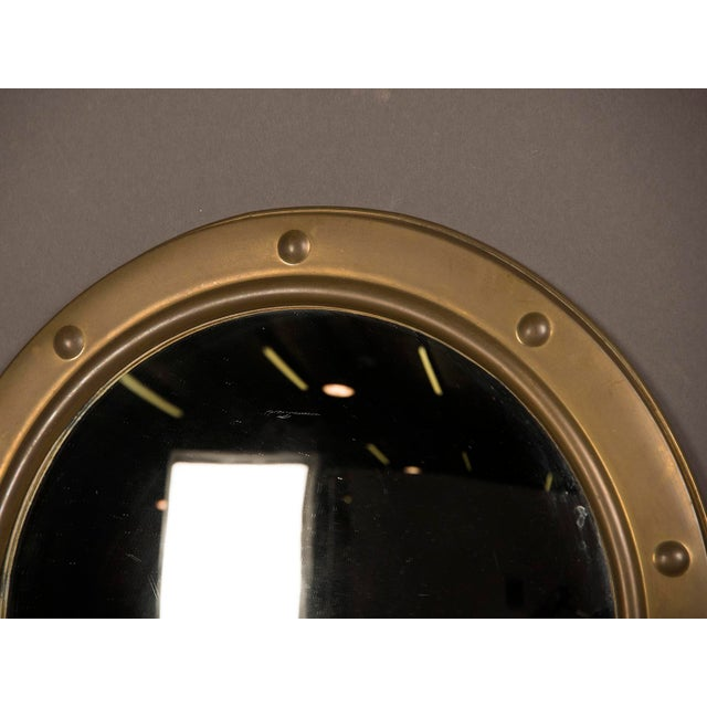 1950s 1950s English Vintage Brass Framed Convex Mirror For Sale - Image 5 of 6