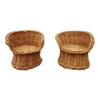 Miniature Wicker Chair Plant Stands - A Pair