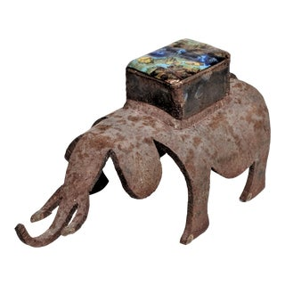 1960s Brutalist Enamel Elephant Figurine with Storage Box For Sale