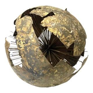 Brutalist Starburst Globe Orb Sculpture