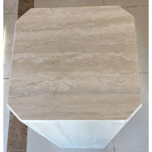 Marble Gray Travertine Marble Pedestal For Sale - Image 7 of 10