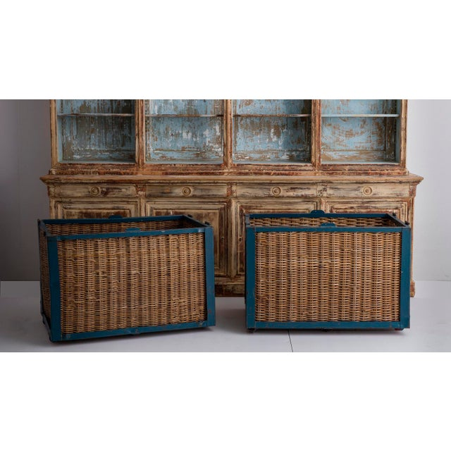Pair of Large French Industrial Wicker Baskets For Sale - Image 10 of 11
