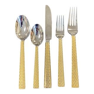 Michael Aram Gold Palm Flatware Place Setting - 5 Pieces For Sale