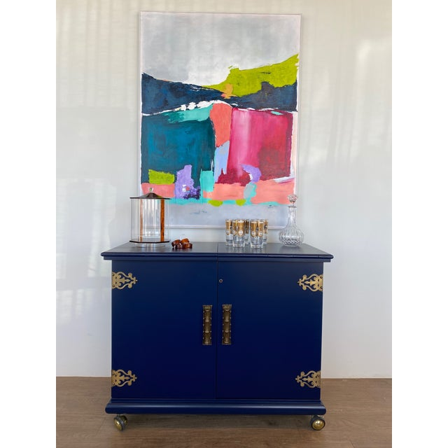 Vintage Swanky Bar Cabinet Server with all the bells and whistles! Newly professionally lacquered in deep royal blue,...