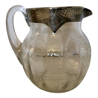 Antique Sterling Silver Crystal Water Pitcher For Sale