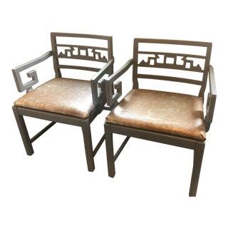 Greek Key Far East Chinoiserie Arm Chairs- A Pair For Sale