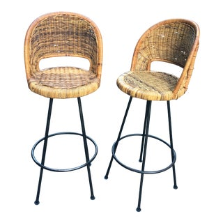 Mid Century Modern Bar Stools Danny Ho Fong - A Pair For Sale