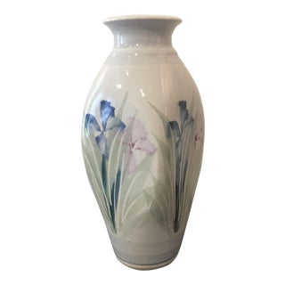 Floral Cream Colored Studio Vase