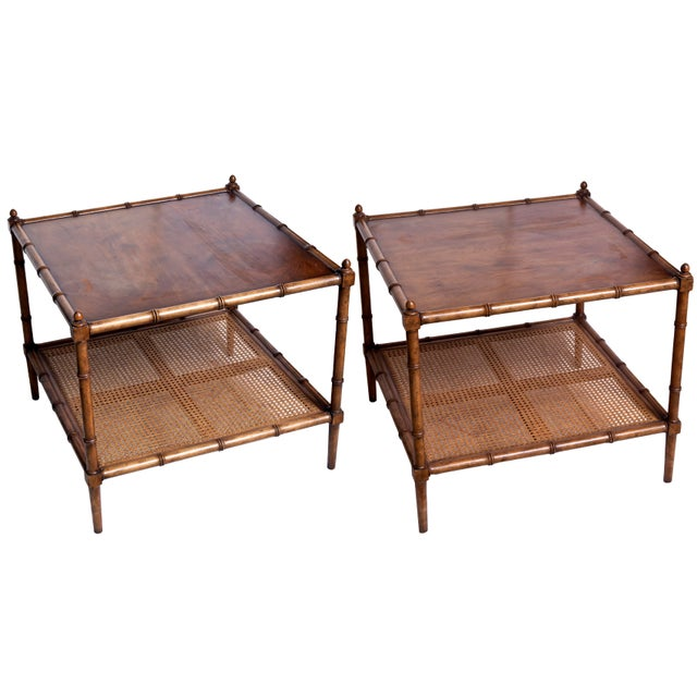 Baker side tables, perfect squares, edged in bamboo look hardwood edge.. Sturdy bottom shelf with hardwood cross boards...