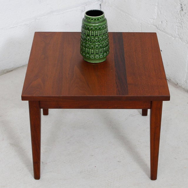 Mid-Century Teak Walnut & Rosewood Accent Table - Image 7 of 7