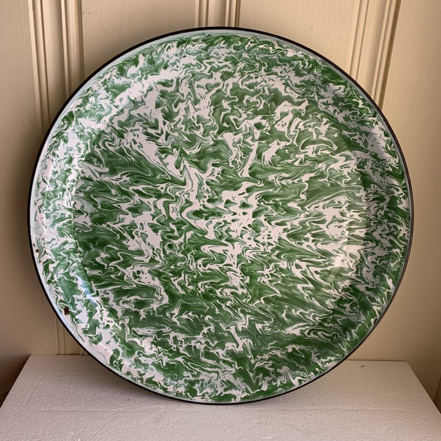 Green Large Enamelware Marbleized Metal Tray For Sale - Image 8 of 8