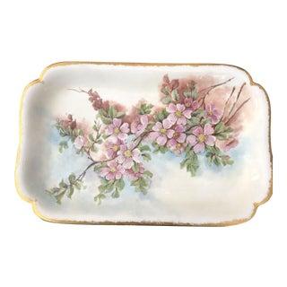 Limoges Pink Floral Platter with Gold Rim For Sale