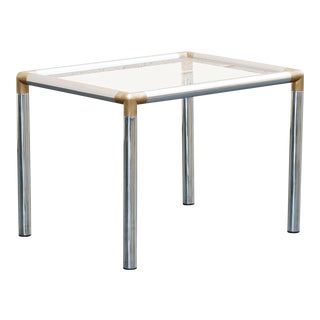 1970s Chrome Side Table, Refinished For Sale