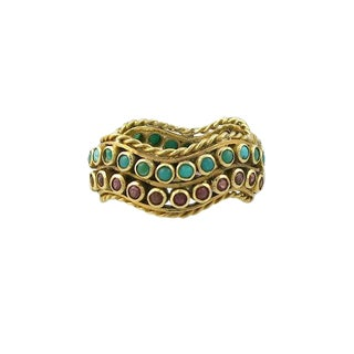 Vintage 22k Ruby & Turquoise Ring / Band For Sale