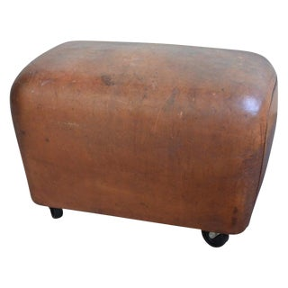Bench, Footrest, Seat From Leather Gymnast Goat Pommel, Circa 1950, Added Wheels For Sale