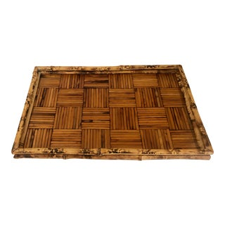 Chinoiserie Bentwood Rattan Split Reed Tortoise Finish Footed Serving Tray For Sale