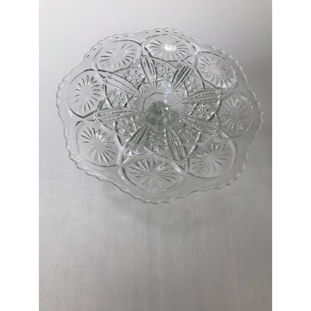 Imperial Glass Clear Cake Stand, 1960s, Christmas Table Setting, Birthday Cake Stand. Beautiful pattern and scalloped...