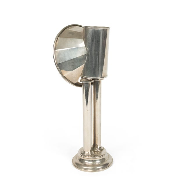 Metal English Victorian Silver Plated Student Lamps, Pair For Sale - Image 7 of 9
