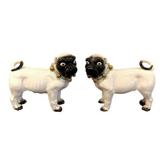 Large Porcelain Standing Pug Dogs With Bell Collars - a Pair For Sale