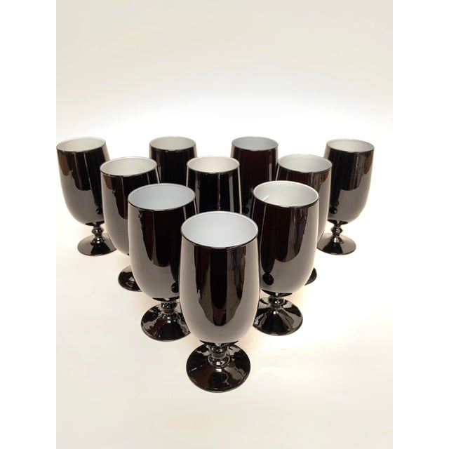 Italian 1960s Carlo Moretti Black and White Cased Glass Goblets - Set of 10 For Sale - Image 3 of 12