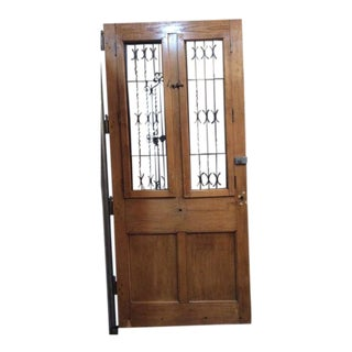 Single French Oak Door with Ironwork