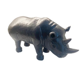 Robert Kuo Hand Repoussé Rhino Brass Sculpture For Sale