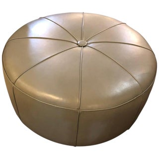 Leather Modern Mint Ottoman or Poof in Pie Form For Sale