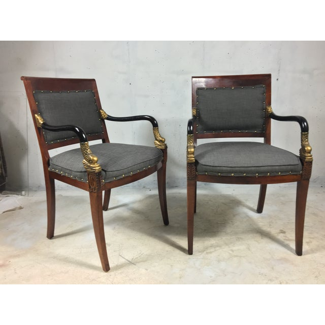 Neoclassical Style Arm Chairs - A Pair - Image 2 of 4