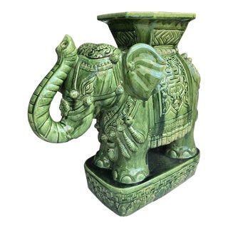 1960s Vintage Chinese Export Green Glazed Elephant Garden Stool For Sale