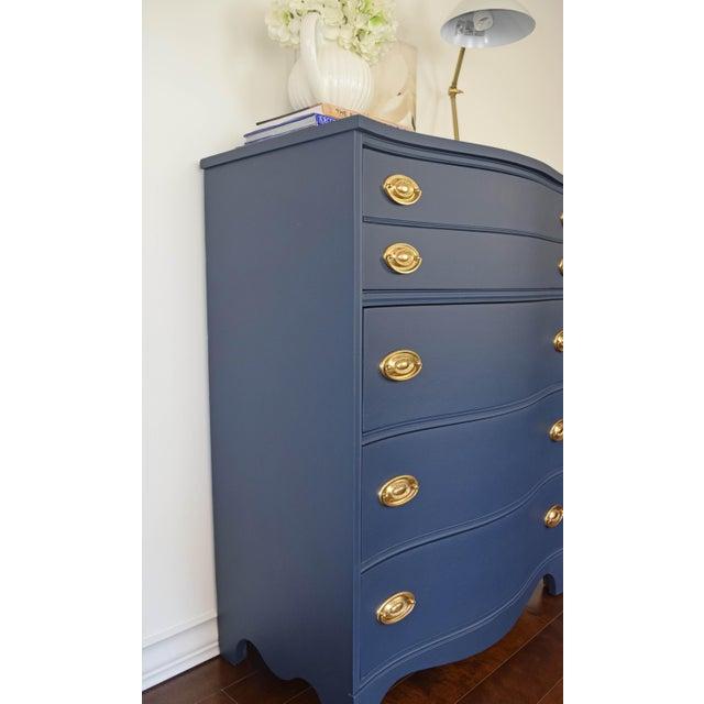 Bassett Serpentine Flat Navy-Blue and Gold Highboy Dresser - Image 4 of 11