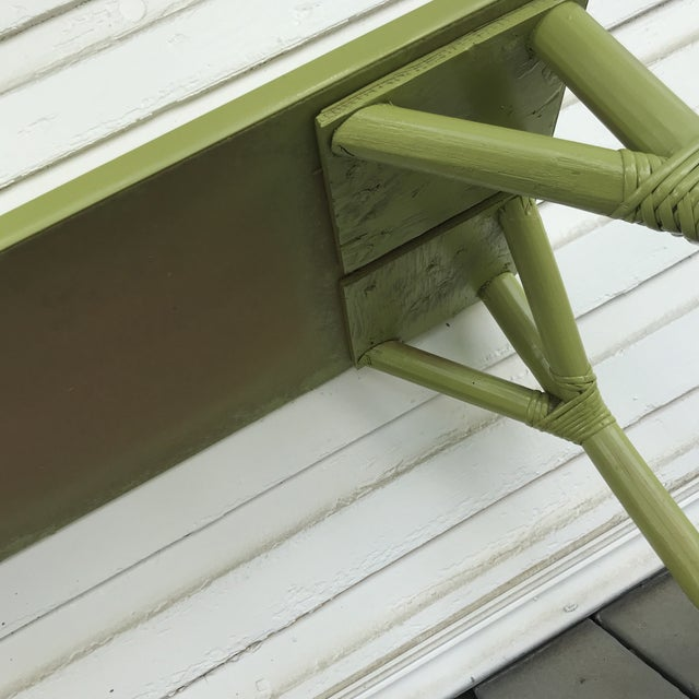 1970s 1970s Boho Chic Apple Green Bamboo Coffee Table For Sale - Image 5 of 7