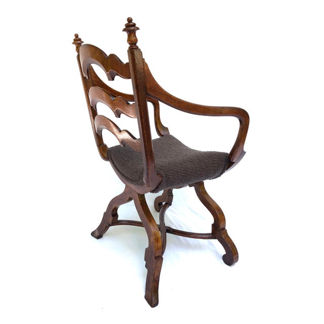 Hollywood Regency 20th Century Italian Cross Base Neoclassical Wood Armchair For Sale - Image 3 of 11