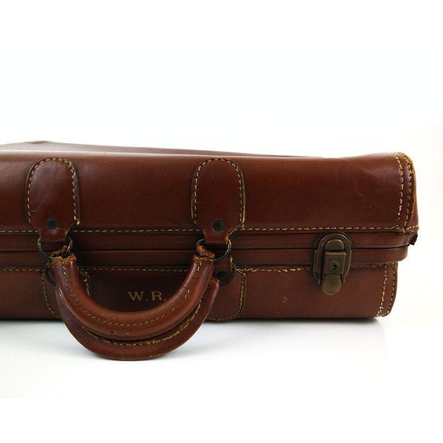 Vintage Brown Leather Suitcase - Image 2 of 6