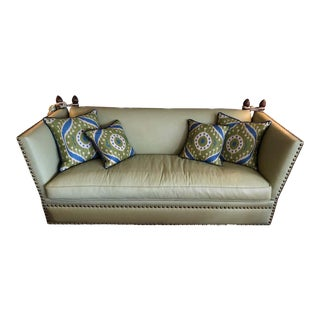 Very Large George Smith Lime Green Leather Knole Style Sofa For Sale