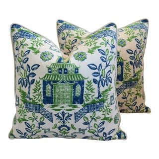 "Blue, White & Green Chinoiserie Pagoda Linen & Velvet Feather/Down Pillows 26"" - Pair For Sale"