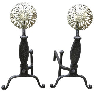 Colonial Style Iron and Brass Medallion Andirons, Set