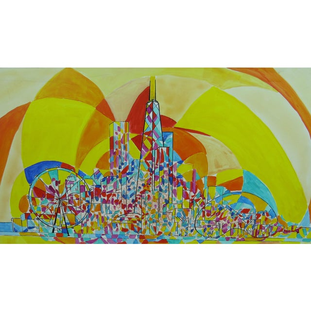2013 Pia Bacca Post Impressionist Oil on Canvas of Chicago Cityscape For Sale In Chicago - Image 6 of 9