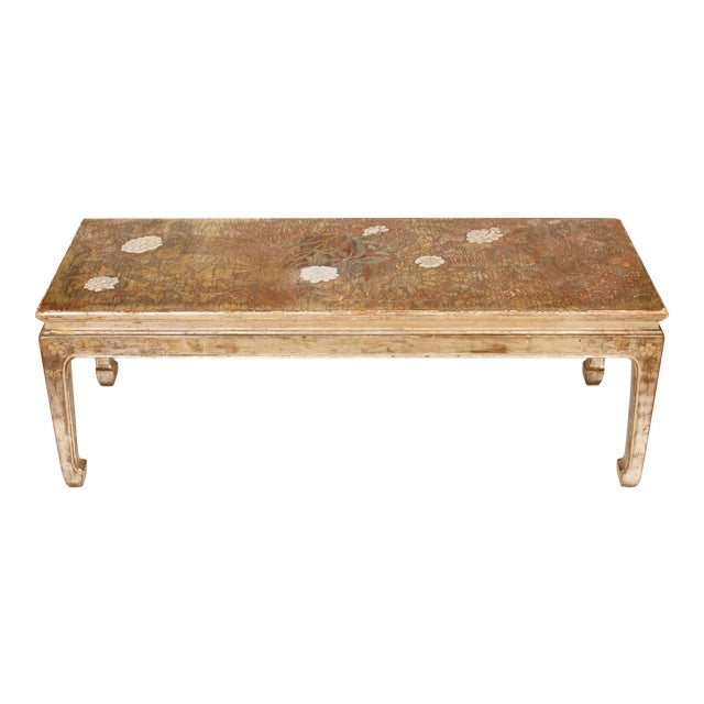Late 20th Century Max Kuehne Silvered Chinoiserie Coffee Table For Sale