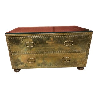 1970s Sarreid Brass Two Drawer Trunk For Sale