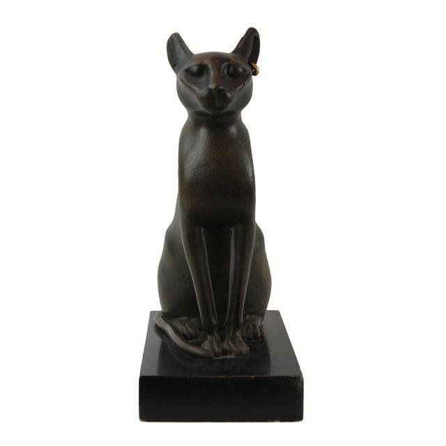 2010s Pasargad DC Vintage Bronze Egyptian Cat Sculpture For Sale - Image 5 of 8