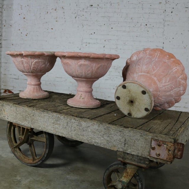 Antique Concrete Garden Urns, Set of Three For Sale - Image 5 of 11
